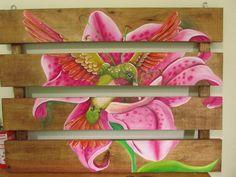 Painel em madeira - Lírio
