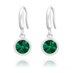 Rivoli 6mm Silver Earrings with Swarovski Crystal (Emerald Green)  #sterling #925 #silver #rings #stud #new #birthday #womans #present #ladies