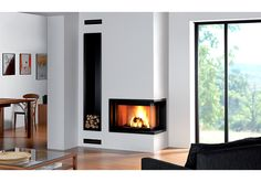 Modern and Traditional Corner Fireplace Ideas, Remodel and Decor Corner Fireplace, Gorgeous Fireplaces, Fireplace Design, Living Room With Fireplace, House, Contemporary Fireplace, Home Decor, Corner Gas Fireplace, Modern Fireplace
