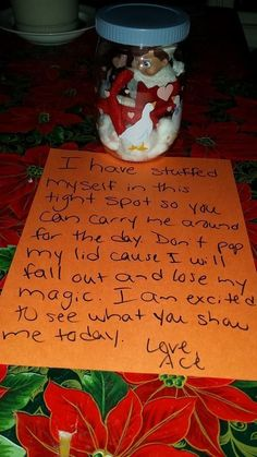 Top Elf on the Shelf Ideas (FREE printables!) - I Heart Naptime This would be super cute in a plastic mason jar with a red lid. I could add an battery powered tea cup candle under the elf to make it look glowy and magical :) All Things Christmas, Holiday Fun, Christmas Holidays, Christmas Decorations, Xmas Elf, Holiday Ideas, Whoville Christmas, Christmas Parties, Funny Christmas