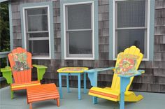 Bright and Cheery Cape Cod seating! Cape Cod Vacation, Beach Vacation Rentals, Lawn Chairs, Outdoor Chairs, Outdoor Decor, Cape Cod Bay, Cozy Cottage, Beach Chairs, Outdoor Projects