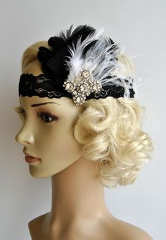Flapper Lace Rhinestone Feather Headband, The Great Gatsby Headband, 1930s, 1920's,Feather, Lace flapper costume, black, silver