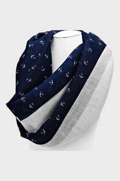 Nautical Infinity Scarf in Navy on Emma Stine Limited. Giveee meee