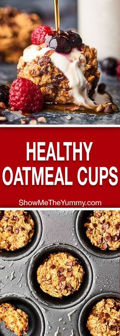These Healthy Baked Oatmeal Cups are naturally sweetened with bananas and are loaded with oats, all natural peanut butter, almond milk, and a handful of dark chocolate chips! Vegan. Gluten Free. 130 calories! showmetheyummy.com #healthy #vegan