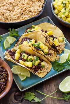 Cuban Chicken and Black Bean Tacos with Pineapple Salsa - Recipe Runner Mexican Food Recipes, Real Food Recipes, Chicken Recipes, Cooking Recipes, Yummy Food, Ethnic Recipes, Slow Cooker Broccoli, Slow Cooker Chicken, Cuban Chicken