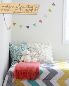 Love the colors - Gray, teal, mustard, coral, white.