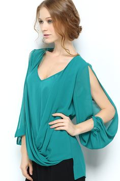 Emmanuelle Flutter Top in Teal   Awesome Selection of Chic Fashion Jewelry   Emma Stine Limited