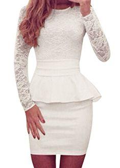 8c67e8cfcb Romacci Sexy Women Bandage Peplum Waist Bodycon Dress Lace Splice O Neck  Long Sleeve Evening Party Mini Dress Night Clubwear
