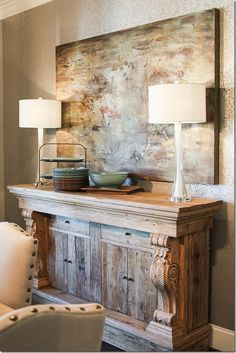 Dining Room buffet against a neutral wallpaper.