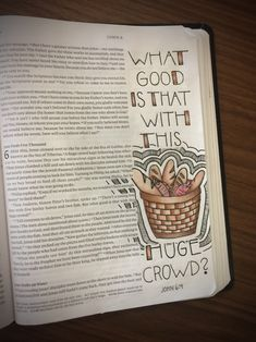 """John Bible Journal Page - Jesus feeds the 5000 - """"There's a young boy here with five barley loaves and two fish. But what good is that with this huge crowd?"""" Bible journaling tips & ideas Scripture Art, Bible Art, Bible Scriptures, Bible Quotes, Art Journaling, Bibel Journal, Bible Doodling, Bible Study Notebook, Inspirational Prayers"""