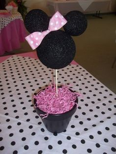 I would switch this to mickey for a boys bday. Red pot.little girl birthday party ideas | minnie mouse party table centerpiece