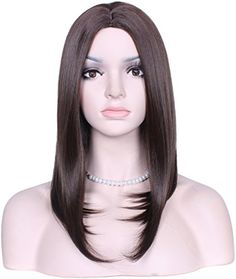Diforbeauty Women Centre Parting Medium Long Straight Heat Resistant Synthetic Hair Bob Wig for Daily Use Cosplay Dark Brown ** Read more reviews of the product by visiting the link on the image.Note:It is affiliate link to Amazon.