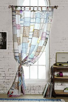 Window covering made with vintage hankies...