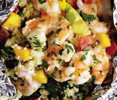 grilled shrimp with avocado-mango salsa YUM!