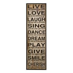 Find Live Love Laugh Wall Decor in the Wood Wall Art category at Tractor Supply Co.Use the Live Love Laugh Wall Decor to add some style to your Live Laugh Love, Live Love, My Love, Wooden Wall Panels, Wood Panel Walls, Dance Dreams, Distressed Walls, Love Wall, Wall Decor