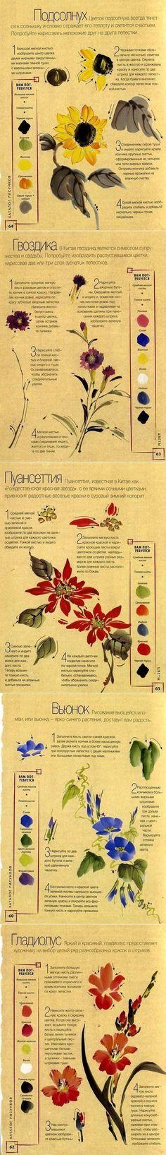 Как рисовать цветы | УЧИМСЯ РИСОВАТЬ | Постила