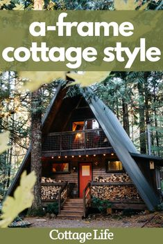 Take a peak inside this updated A-frame style cabin. The renovation was done on a small budget. #homedesign #homedecor #cabin #aframe #interiordesign #bedroom #bathroom #design #kitchenideas #CottageLife Cottage In The Woods, Lake Cottage, Cottage Homes, Cottage Design, Cottage Style, House Design, Exterior Design, Interior And Exterior, Slanted Walls