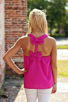 pink bow back