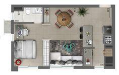 12 Design Ideas for Your Studio Apartment - architecturian Apartment Layout, Apartment Plans, One Bedroom Apartment, Studio Apartment, Layouts Casa, House Layouts, Studio Floor Plans, House Floor Plans, Small Apartments