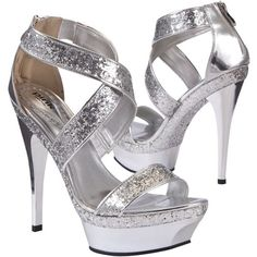 Pink London Silver Glitter Strap Heels ($96) ❤ liked on Polyvore