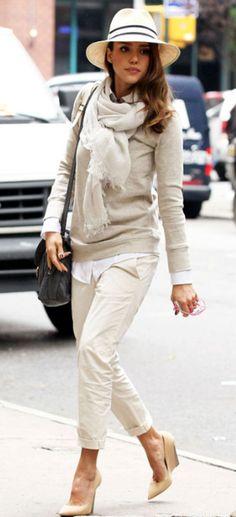 neutrals: khakis, sweater, scarf, hat - Jessica Alba