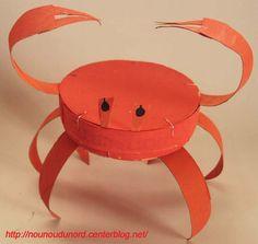 *Année 2010* Crabe réalisé par Lison 3 ans avec une boite des camembert et un rouleau de papier WC  Peindre orange une boîte de camembert en bois et 2 rouleaux de papier wcdes 2 côtés les couper ...