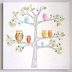 Wall Art By Theme Popular Artwork for Boys House Of Owls Hand Painted Canvas at PoshTots Cute Canvas Paintings, Original Paintings, Canvas Art, Canvas Ideas, Owl Wall Art, Wall Mural, Wall Decor, Owl Nursery, Nursery Ideas