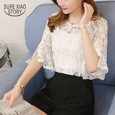 f1e5dbbdaf67ce Find More Blouses  amp  Shirts Information about 2017 summer new lace  trumpet sleeve blouse small
