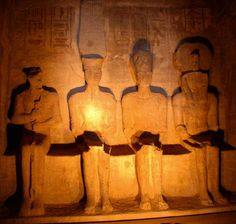 Twice a year, on February 20th and October the 20th, (the first date is believed to be the birthday of Ramesses II)  at sunrise the rays of light align with the axis of the temple, in such a way that light falls on the sanctuary.