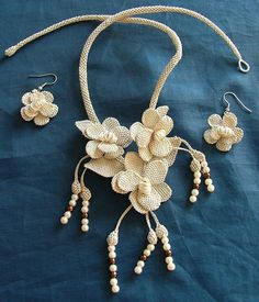 Necklace Set with Ecru color oya flowers by ColorsofRengin on Etsy, $45.00