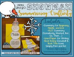 This snowman display will certainly brighten up your classroom hallway or bulletin board display! Simply determine which set works best for the student(s) in your classroom (Beginning, Middle, and End OR PLOT Summary with Somebody, Wanted, But, So), print, copy, and get started on this adorable yet educational snowman summarizing craftivity!