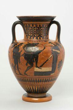HALSAMPHORA: HERAKLES MIT LEIER Griechisch, Attisch, schwarzfigurig um 510 v. Chr.