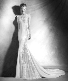 Veda, sexy wedding dress, bateau neckline, elegant style