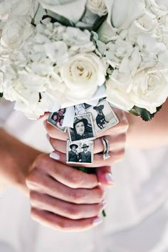 """my """"something old"""" memories hidden in my bouquet with """"wish you were here"""" written on the back."""