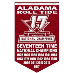Alabama Crimson Tide 17 Time and 2017 National Football Champions Banner