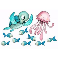 Sea turtle, jellyfish, and little fishies - so cute! Cute Images, Cute Pictures, Cool Business Cards, Cute Illustration, Sea Creatures, Kind Mode, Sticker Design, Cute Cartoon, Cute Drawings