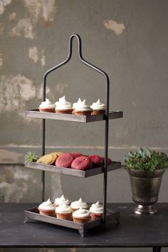 """Square Metal Three Tiered Display Dimensions (in):10"""""""" x 12"""""""" x 30.5""""""""t By Kalalou - Kalalou is a wholesale manufacturer of distinctive home & garden decorative accessories. Usually ships within 3 Bus"""