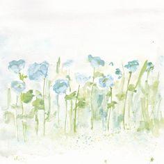 original flower watercolor - blue flower