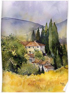 I want to visit Tuscany beautiful watercolor.