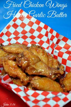 Fried Chicken Wings with Honey Garlic Butter