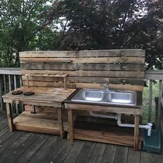 "This amazing ""nature kitchen"" was given to Lauren by her Papa and Nanny today (my mom and dad). My dad made these entirely from pallets and…"