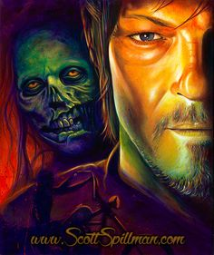 Daryl Dixon from the Walking Dead. Painting by Scott Spillman