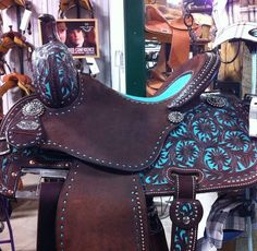Beautiful turquoise and brown western saddle by Martin Saddlery Horse Gear, My Horse, Horse Love, Horse Riding, Horse Tips, Barrel Racing Saddles, Barrel Saddle, Barrel Horse, Western Horse Tack