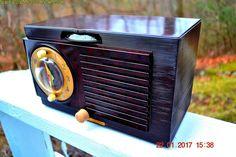 SOLD! - Jan 30, 2017 - BLUETOOTH MP3 READY - Art Deco 1951 General Electric Model 512F AM Brown Bakelite Tube Clock Radio Pristine!