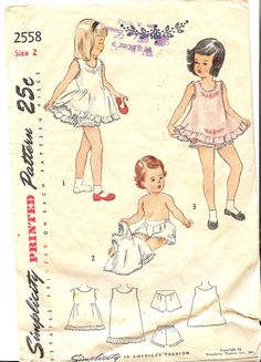 Simplicity 2558   1940's Children's and Girls Slip by FashionsLook, $19.95