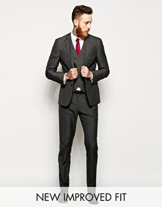 ASOS Slim Fit Suit Charcoal Pindot- this is the suit color we are going for