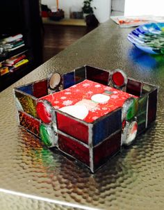 Christmas napkin holder stained glass