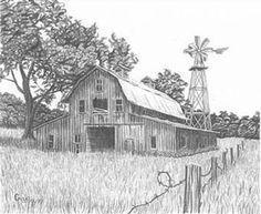 Pencil Drawings Of Old Barns