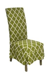 Classic Parsons chair Slip Cover Avocado Trellis by Forty West designs