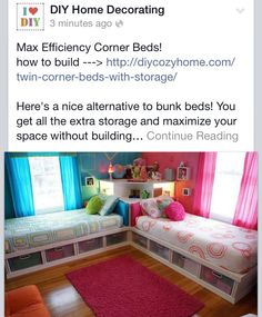 Corner beds. I like this set up. If you used daybeds, could also double as a sectional sofa.